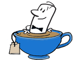 karikatura Angleža v čajnem lončku